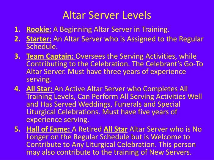 Altar Server Levels