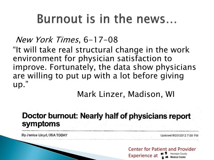Burnout is in the news…