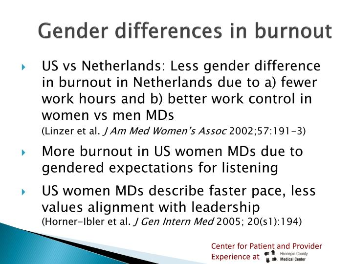 Gender differences in burnout