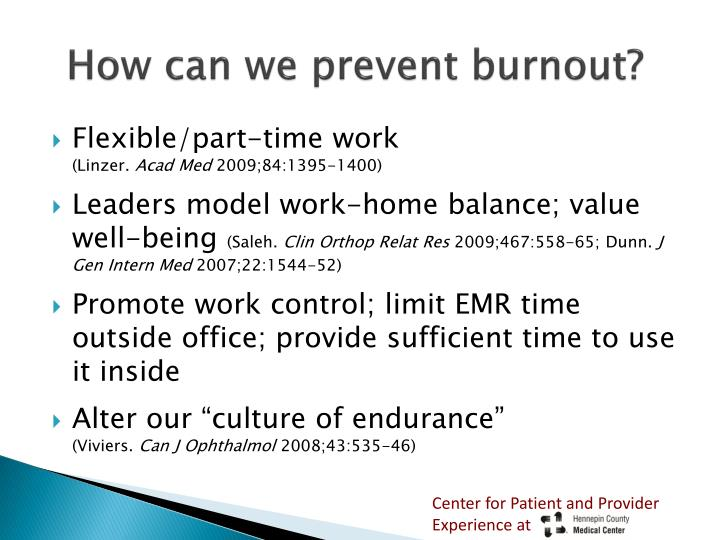 How can we prevent burnout?