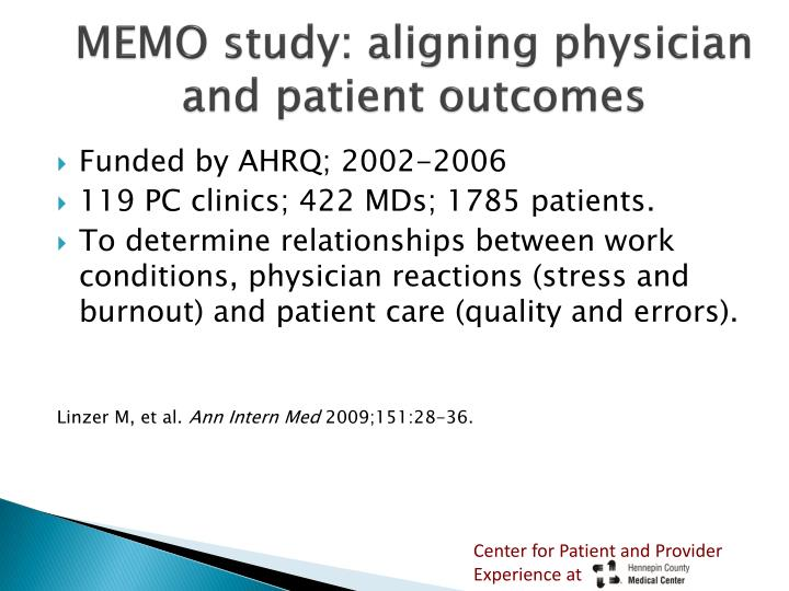 MEMO study: aligning physician and patient outcomes