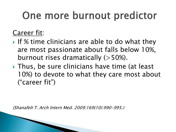One more burnout predictor