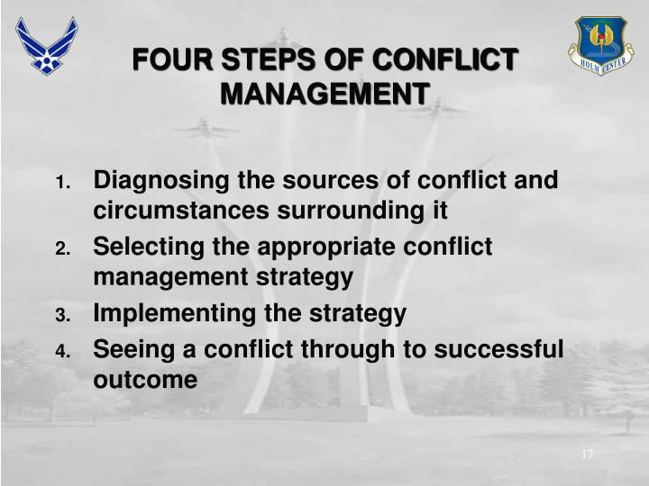 FOUR STEPS OF CONFLICT MANAGEMENT
