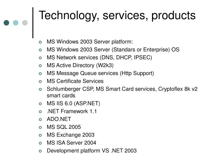 Technology, services, products