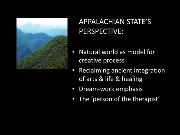 APPALACHIAN STATE'S PERSPECTIVE: