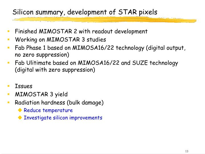 Silicon summary, development of STAR pixels