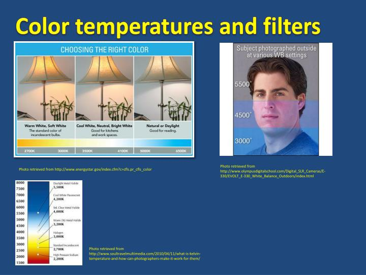 Color temperatures and filters