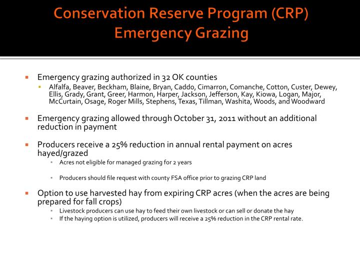Conservation Reserve Program (CRP) Emergency Grazing