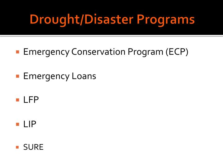 Drought/Disaster Programs