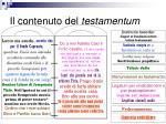 il contenuto del testamentum