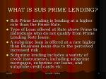 what is sub prime lending