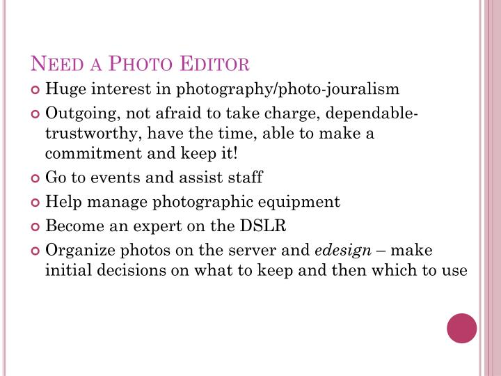 Need a Photo Editor