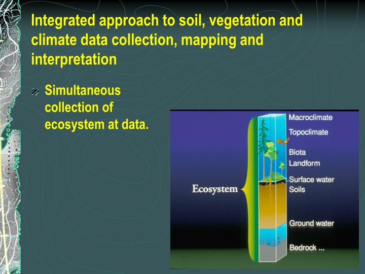 Integrated approach to soil, vegetation and climate data collection, mapping and interpretation