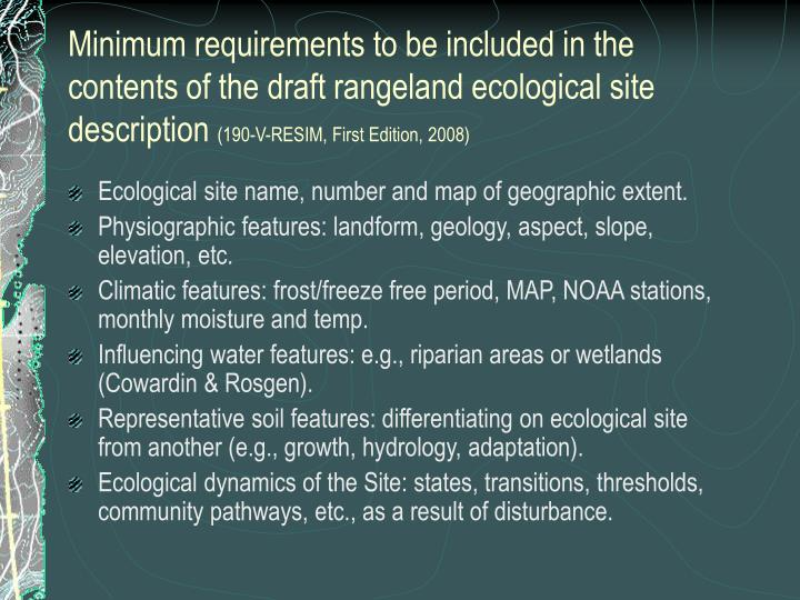 Minimum requirements to be included in the contents of the draft rangeland ecological site description