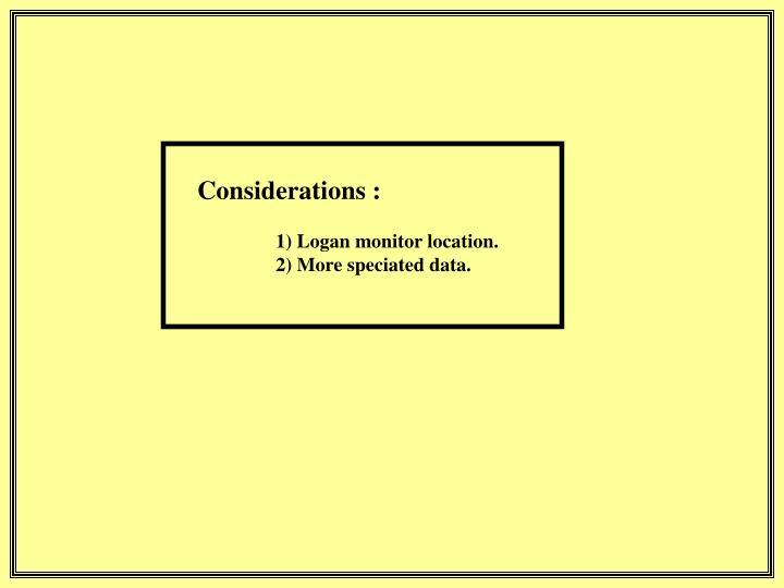 Considerations :