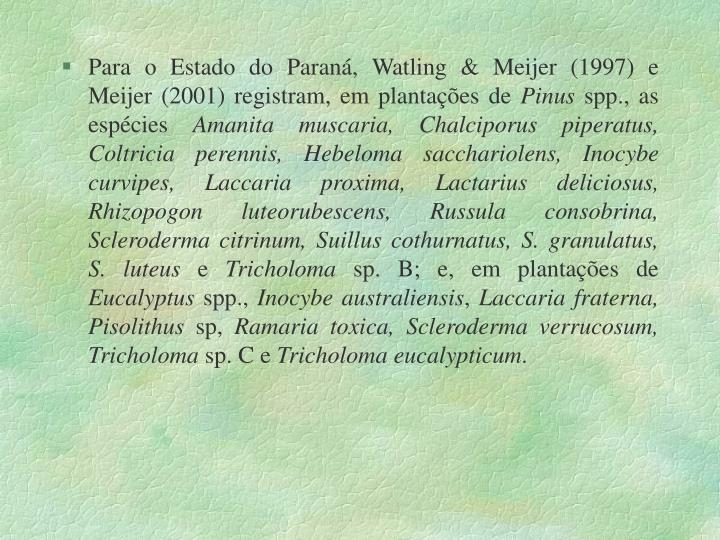 Para o Estado do Paraná, Watling & Meijer (1997) e Meijer (2001) registram, em plantações de