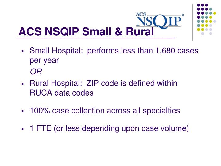 ACS NSQIP Small & Rural