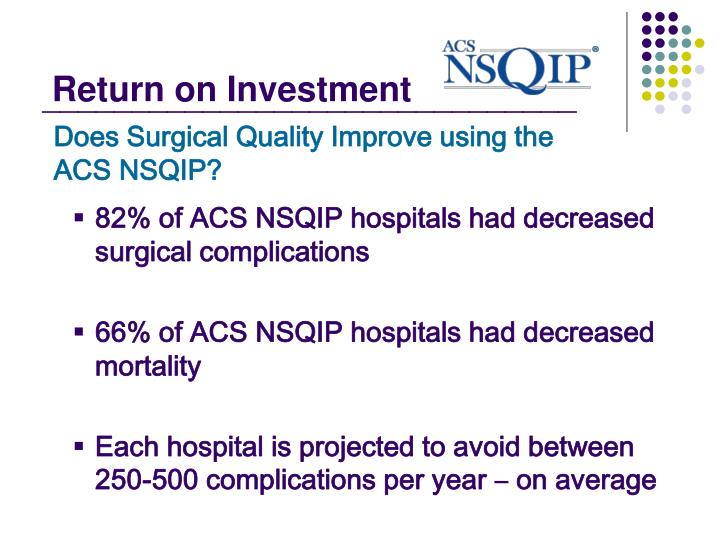 Does Surgical Quality Improve using the  ACS NSQIP?