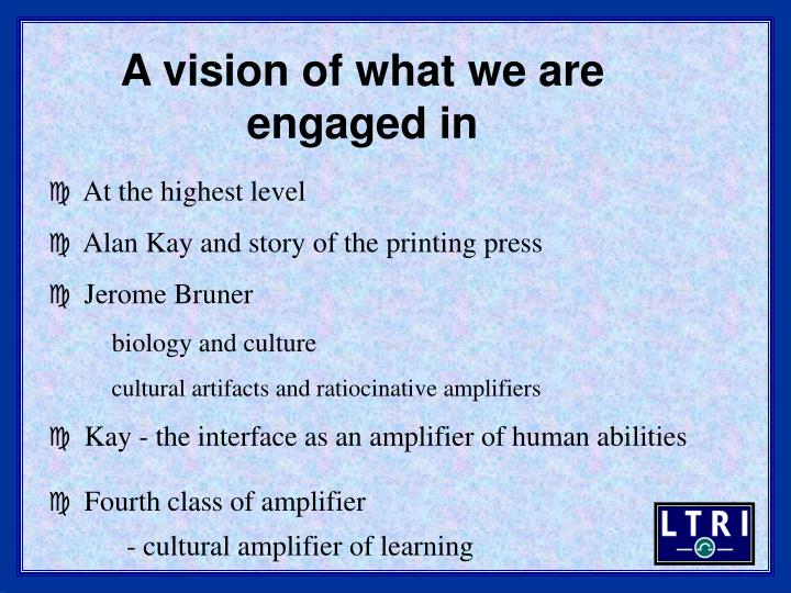 A vision of what we are engaged in