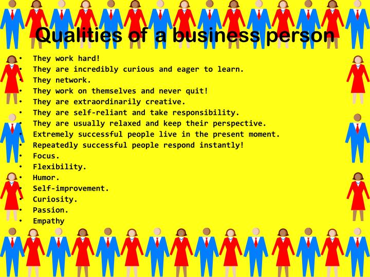 Qualities of a business person