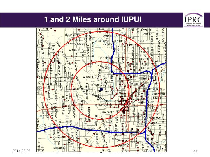 1 and 2 Miles around IUPUI