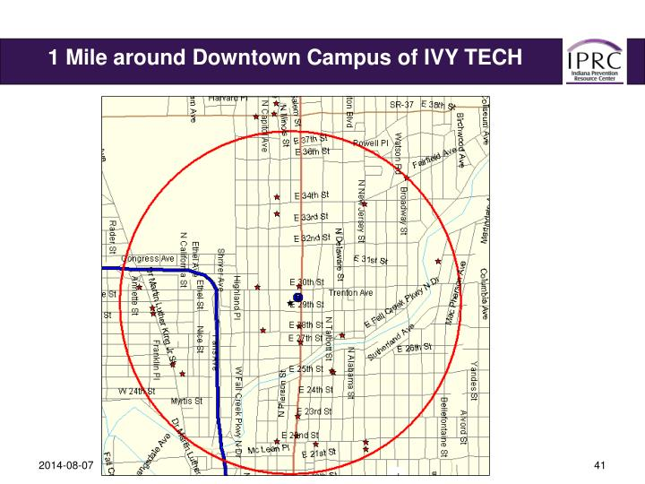 1 Mile around Downtown Campus of IVY TECH