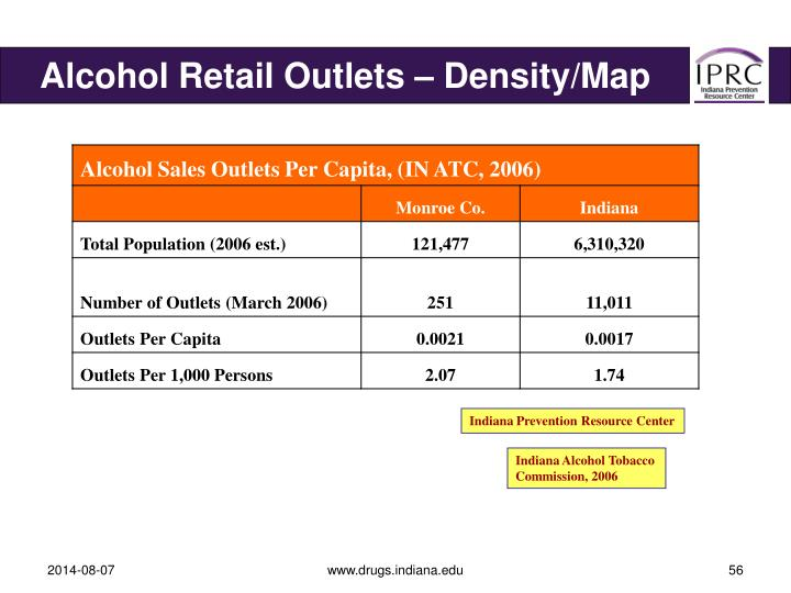 Alcohol Retail Outlets – Density/Map
