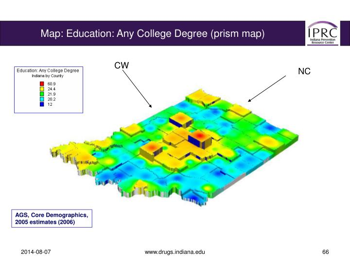 Map: Education: Any College Degree (prism map)