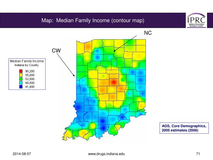 Map:  Median Family Income (contour map)