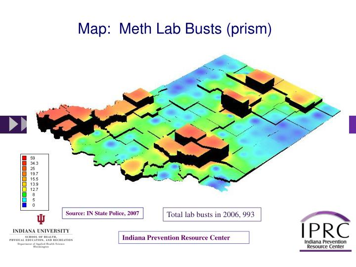 Map:  Meth Lab Busts (prism)
