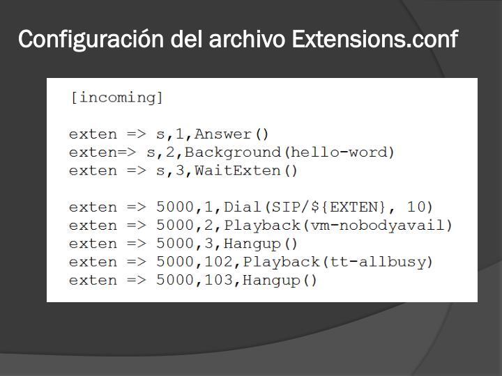 Configuración del archivo Extensions.conf