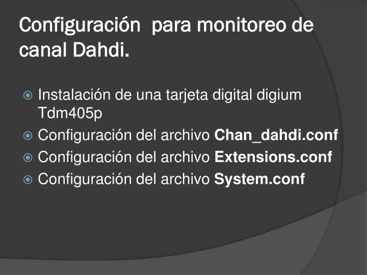 Configuración  para monitoreo de canal Dahdi.