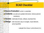 scad checklist
