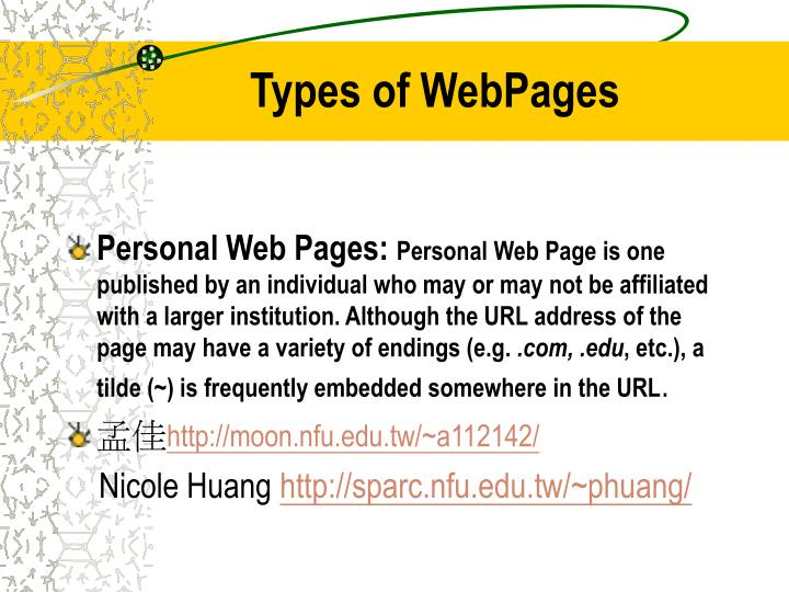 Types of WebPages