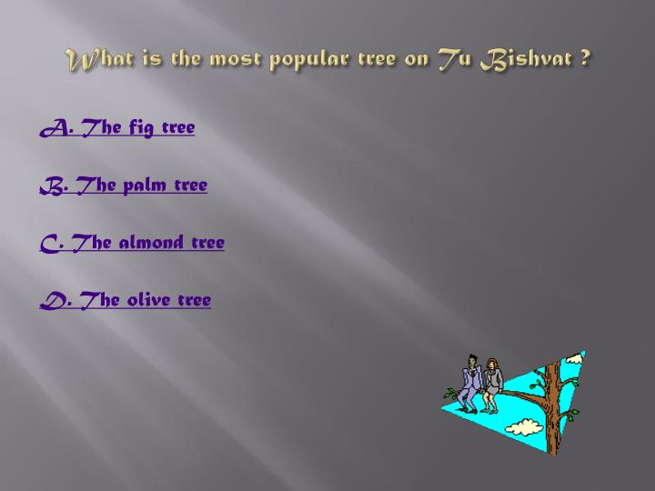 What is the most popular tree on Tu Bishvat ?