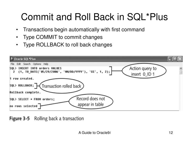 Commit and Roll Back in SQL*Plus
