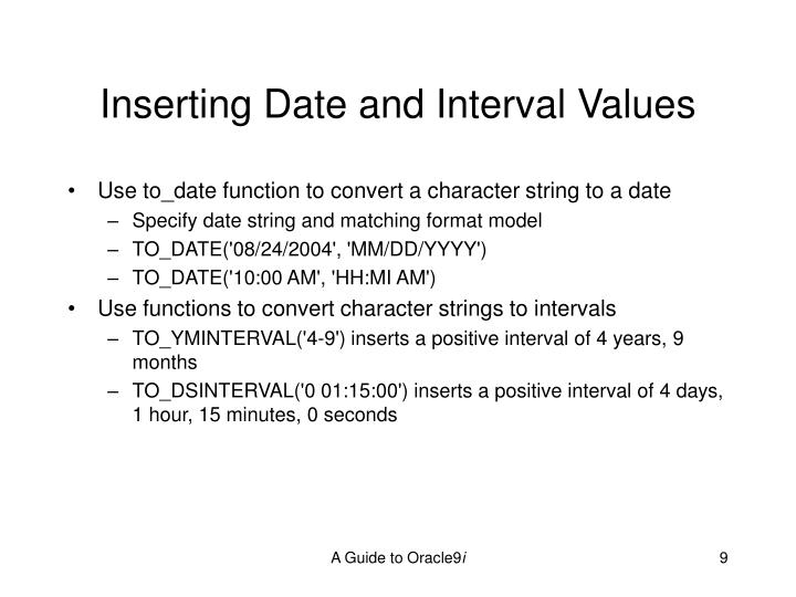 Inserting Date and Interval Values