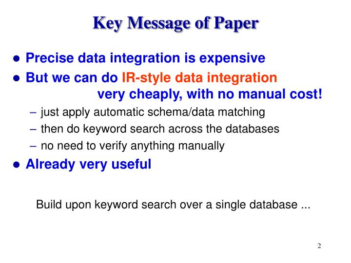Key Message of Paper