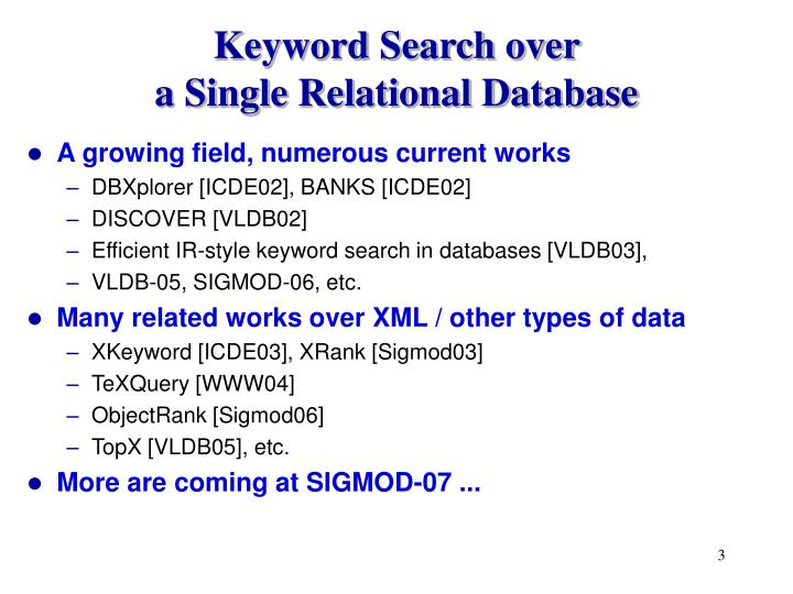 Keyword Search over