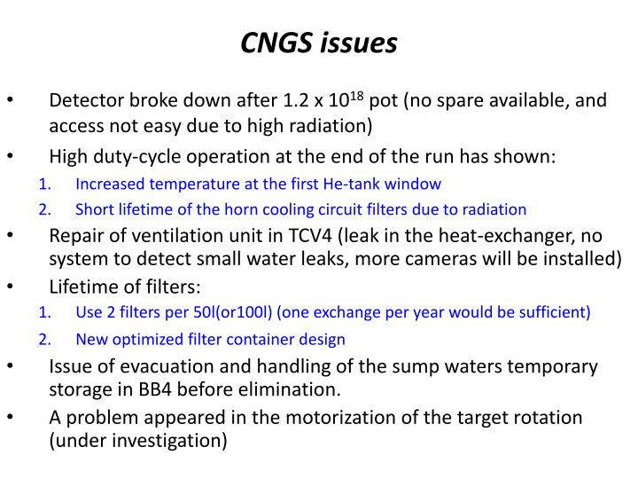 CNGS issues
