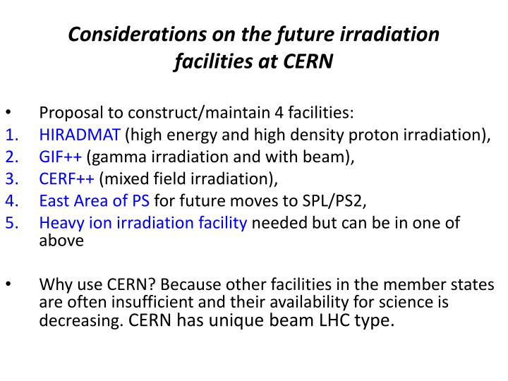 Considerations on the future irradiation facilities at CERN