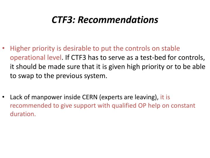 CTF3: Recommendations