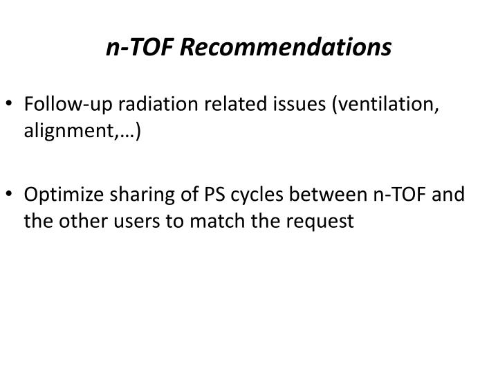 n-TOF Recommendations