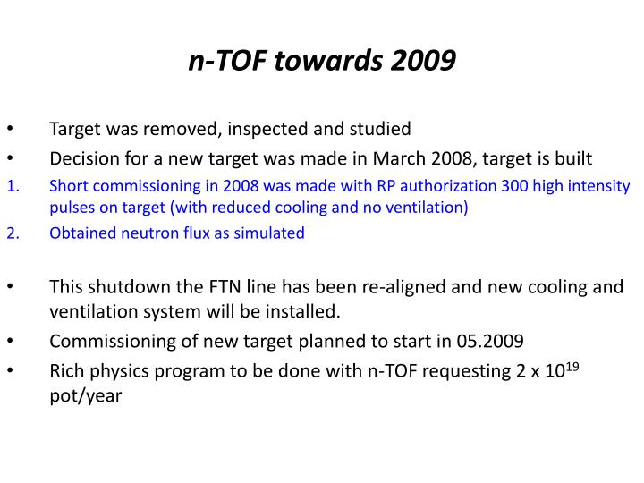n-TOF towards 2009