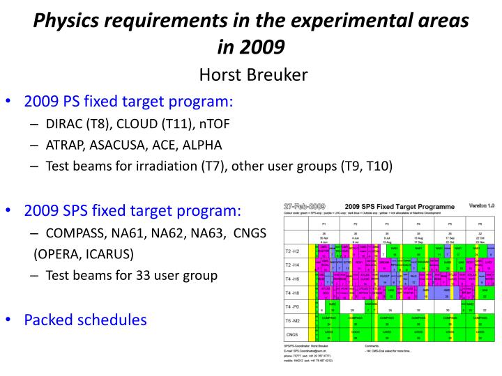 Physics requirements in the experimental areas in 2009