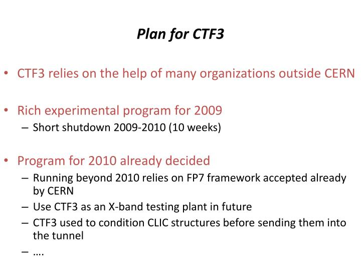 Plan for CTF3