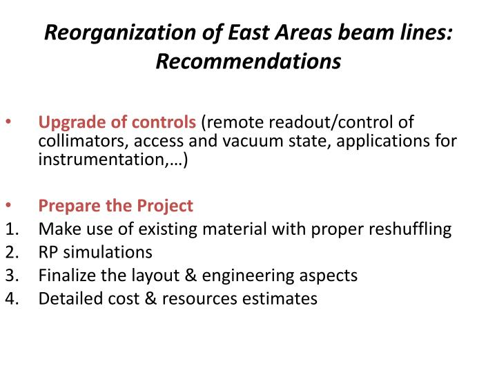 Reorganization of east areas beam lines recommendations