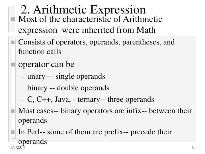 2. Arithmetic Expression