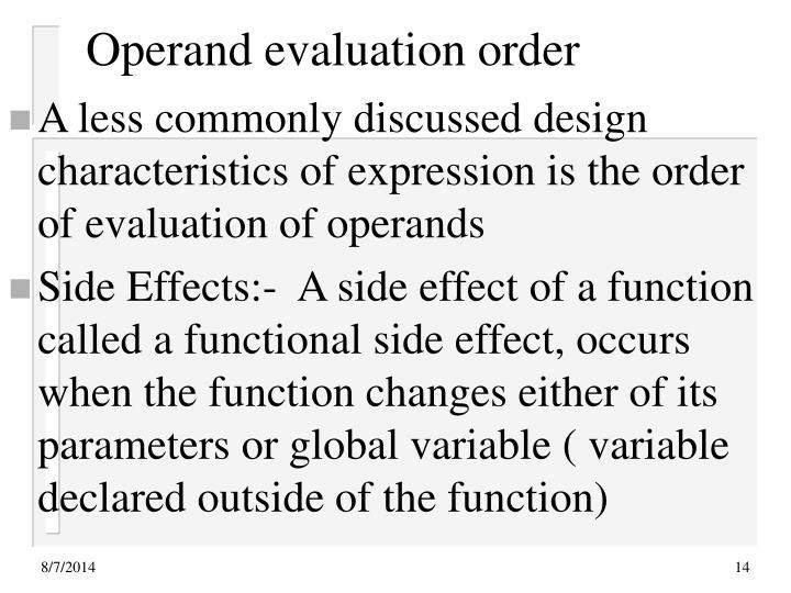 Operand evaluation order