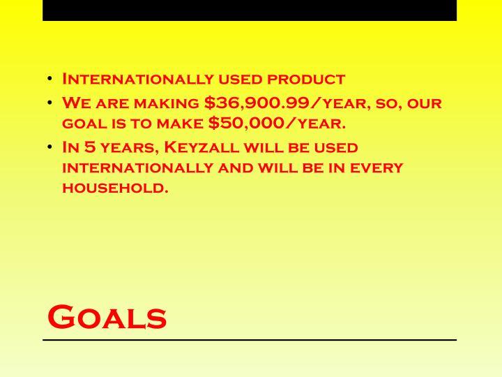 Internationally used product